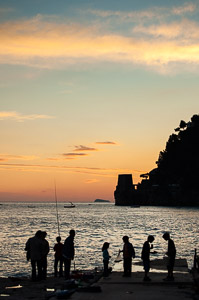 Fishing at dawn in Positano