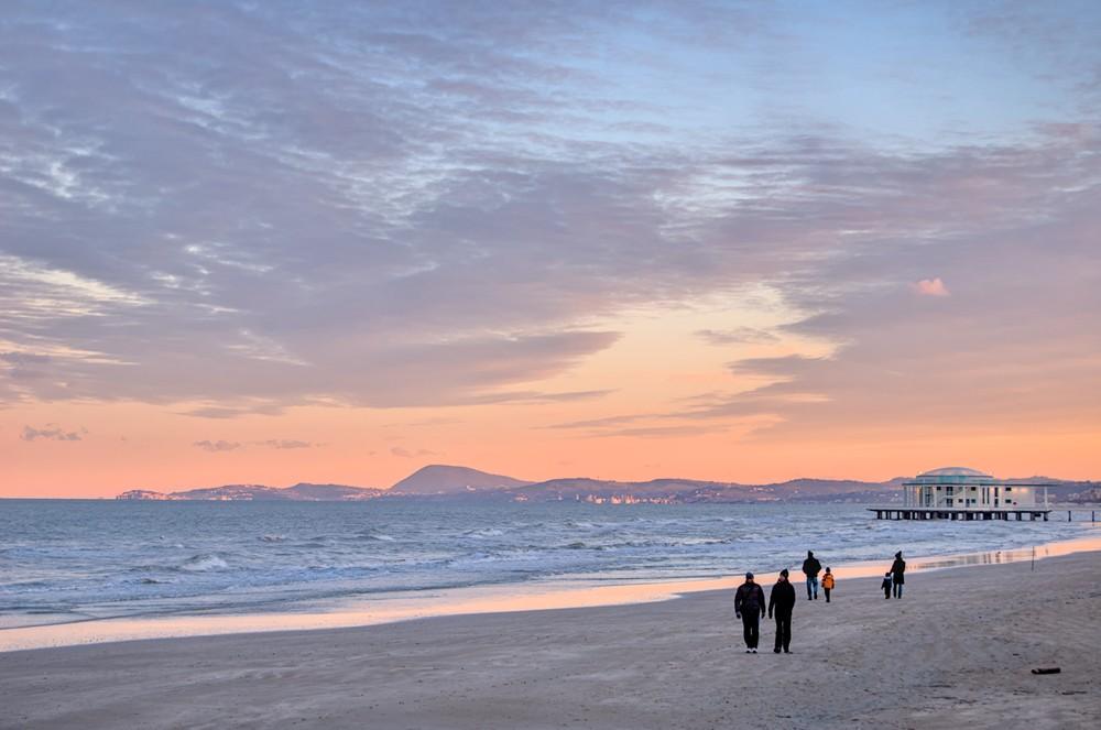 Walking on the Senigallia's beach