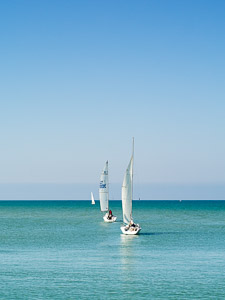 Three sailboat in a row