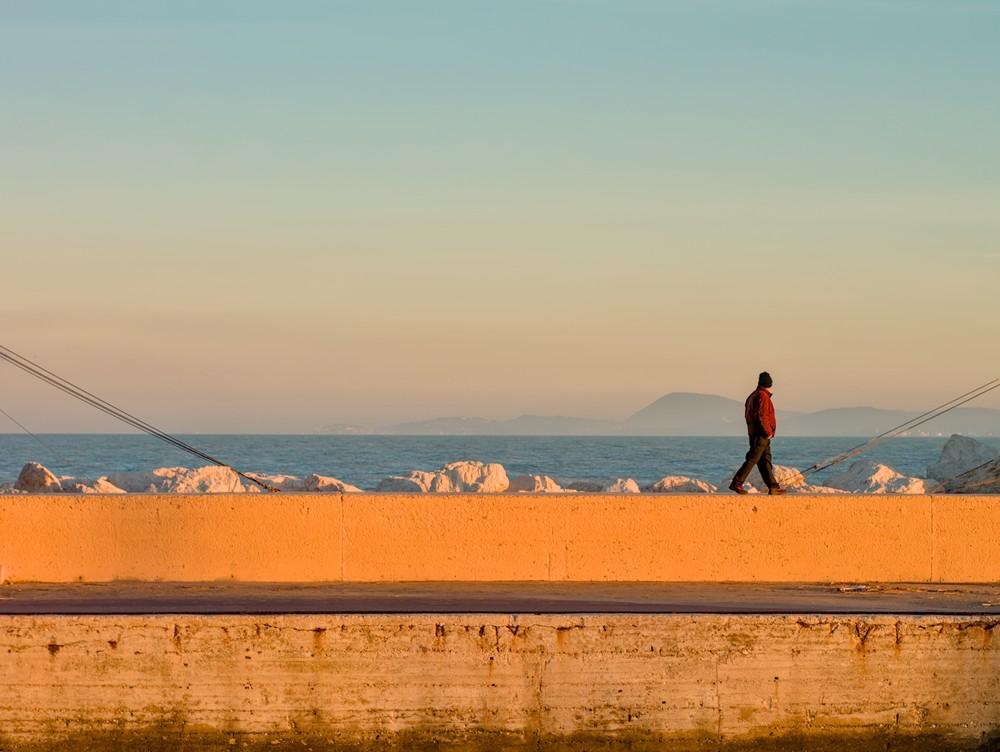 Walking at the harbor