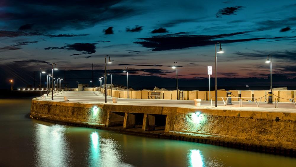 Senigallia harbor at dawn