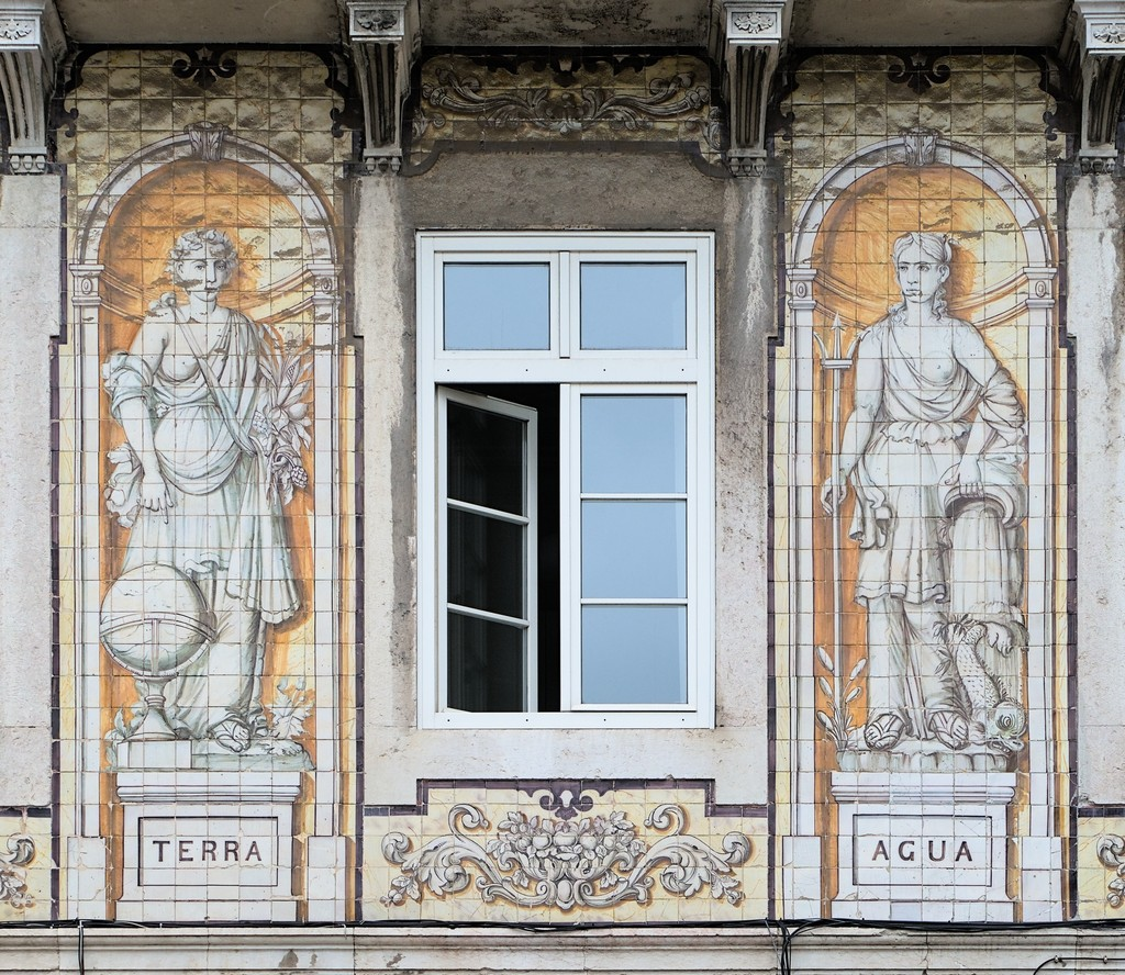 Buildings with Azulejo, Lisbon, Portugal